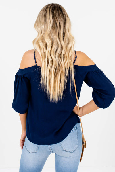 Women's Navy Blue Adjustable Spaghetti Strap Boutique Tops