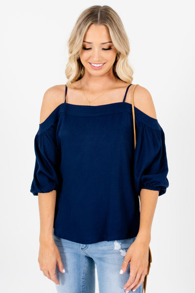 Navy Blue Cold Shoulder Style Boutique Tops for Women