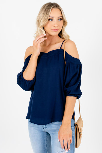Navy Blue Pleated Accented Boutique Cold Shoulder Tops for Women