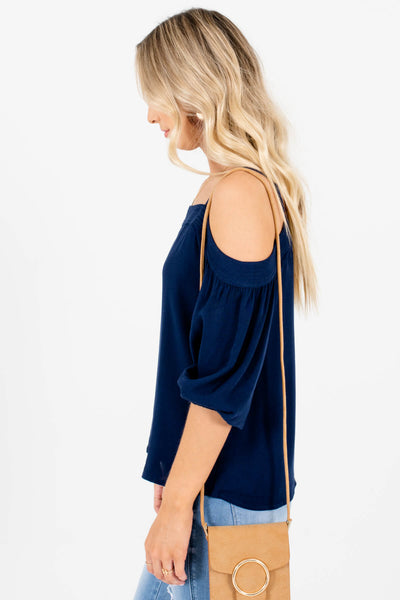 Women's Navy Blue Lightweight High-Quality Boutique Tops