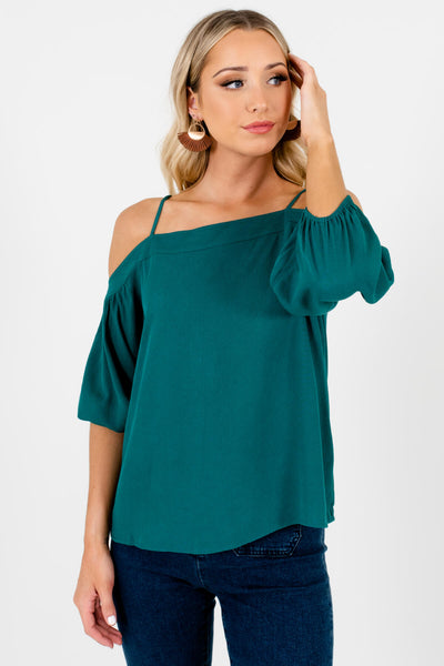 Teal Green Pleated Accents Boutique Tops for Women