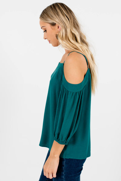 Women's Teal Green High-Quality Lightweight Material Cold Shoulder Boutique Tops
