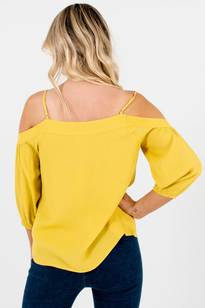 Women's Yellow Adjustable Strap Boutique Tops