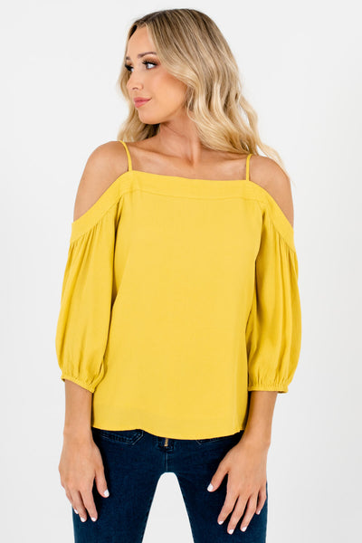 Yellow Cold Shoulder Style Boutique Tops for Women