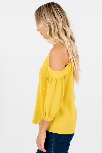 Yellow Pleated Accents Sleeve Boutique Tops for Women