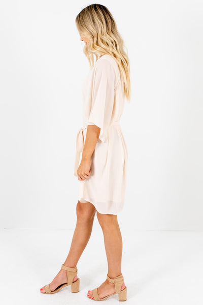 Cream Flutter Sleeve Boutique Mini Length Dresses for Women