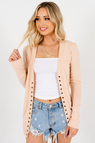 Peachy Beige Brown Snap Button-Up Front Boutique Cardigans for Women