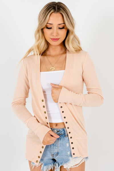 Women's Peachy Beige Brown Long Sleeve Boutique Cardigans