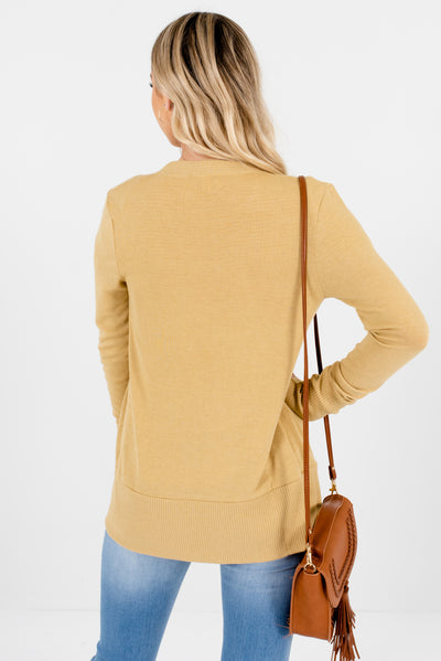 Women's Light  Brown Ribbed Accented Boutique Cardigans