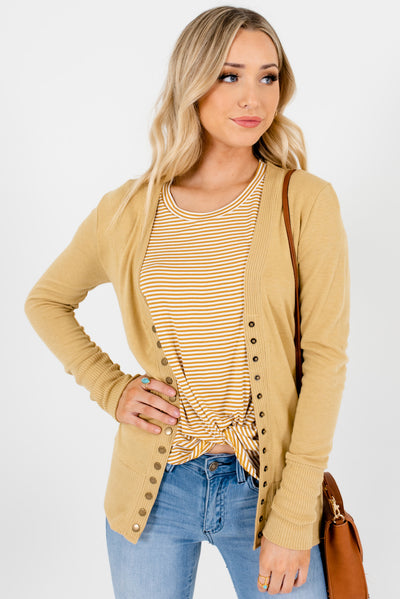 Light Brown Cute and Comfortable Boutique Cardigans for Women