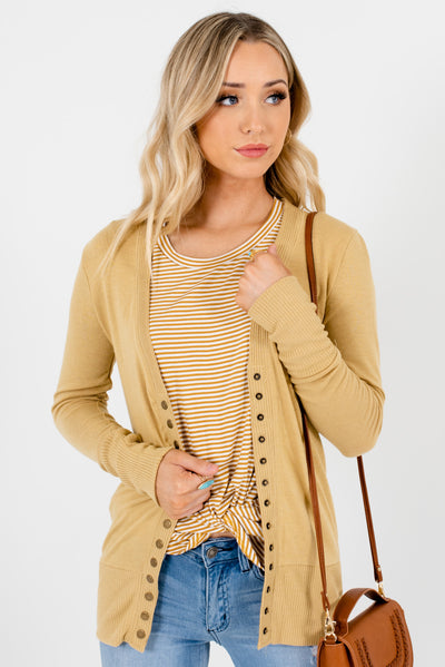 Light  Brown Snap Button-Up Front Boutique Cardigans for Women