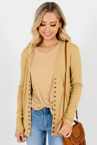 Women's Light  Brown Long Sleeve Boutique Cardigans