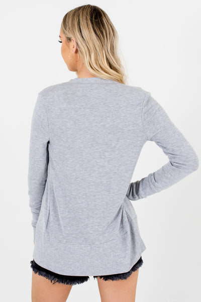 Women's Heather Gray Ribbed Accented Boutique Cardigan