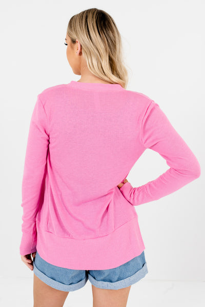 Women's Pink Ribbed Accents Boutique Cardigan