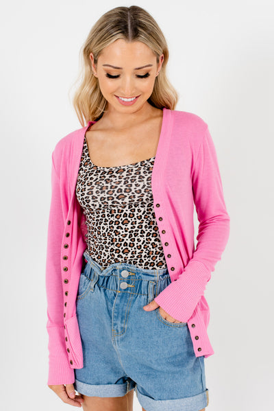 Pink Snap Button-Up Boutique Cardigans for Women