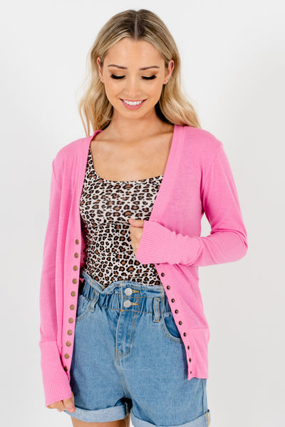 Women's Pink Long Sleeve High-Quality Boutique Cardigan