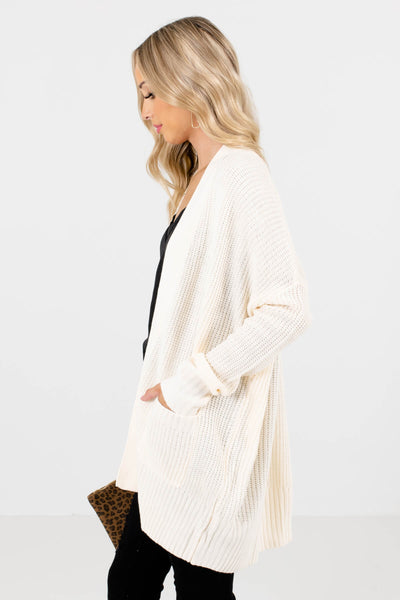 Cream Long Sleeve Boutique Cardigans for Women