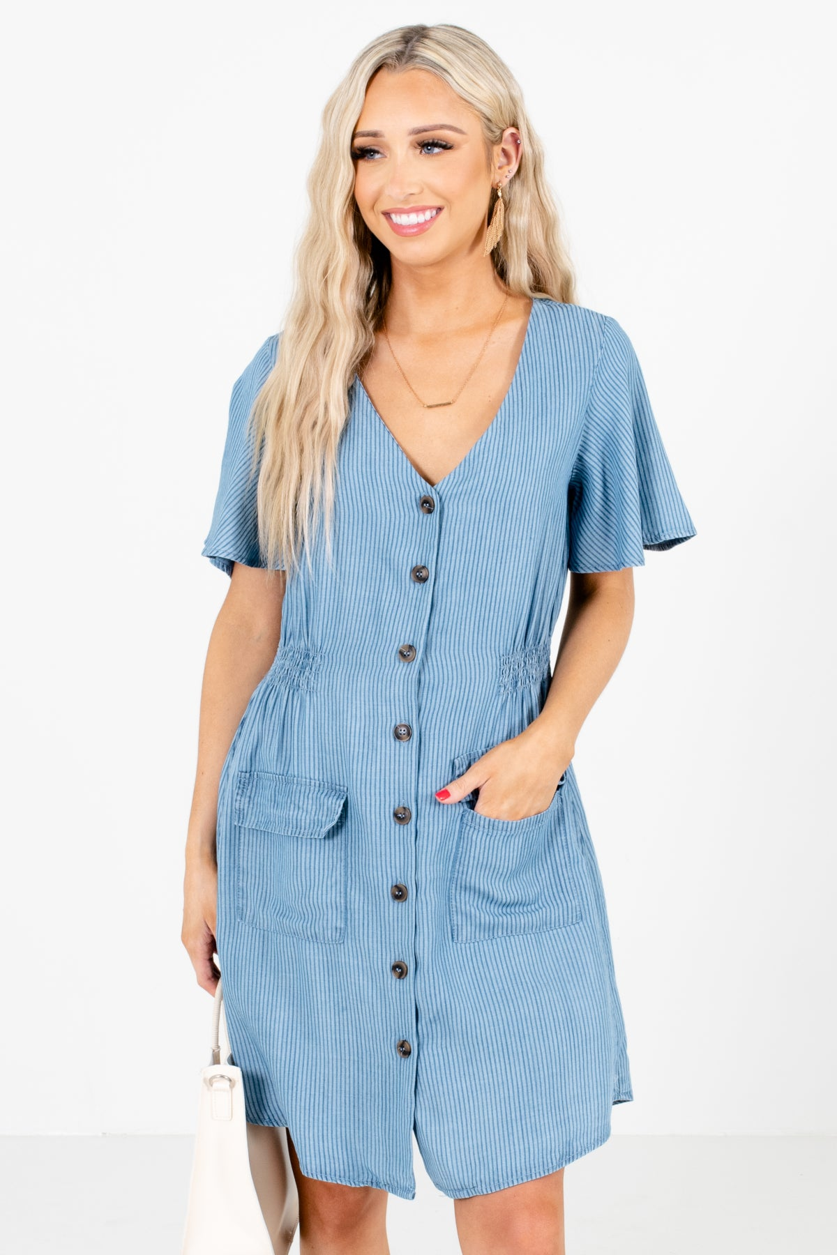 Blue Striped Boutique Mini Dresses for Women