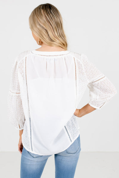 Women's White Ladder Lace Detailed Boutique Tops