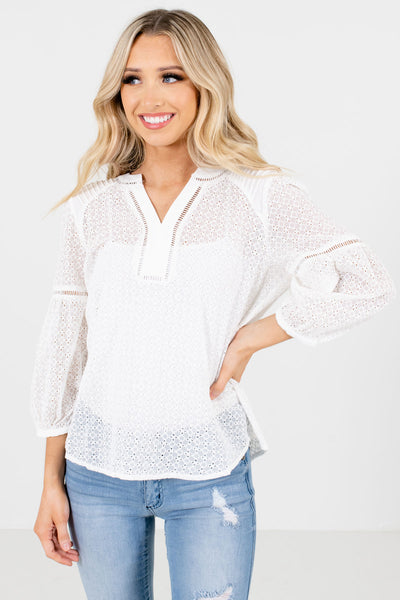 White Embroidered Eyelet Boutique Blouses for Women