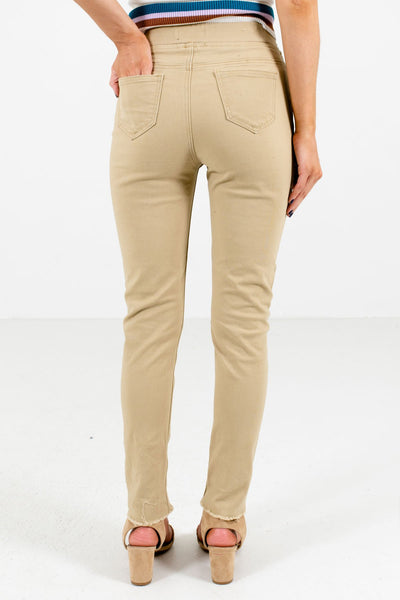Women's Khaki Brown Distressed Detailing Boutique Jeggings