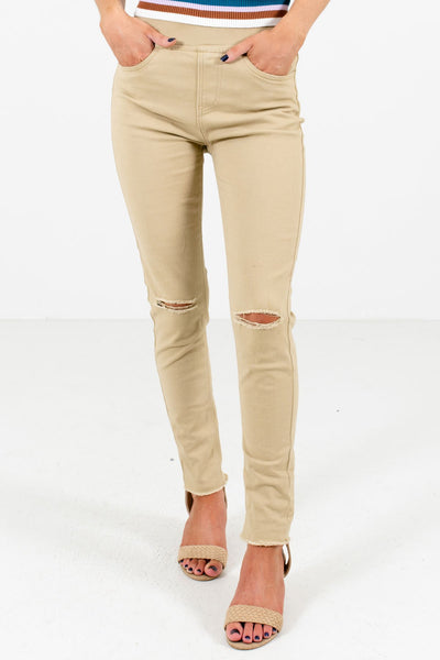 Khaki Brown Skinny Fit Boutique Jeggings for Women
