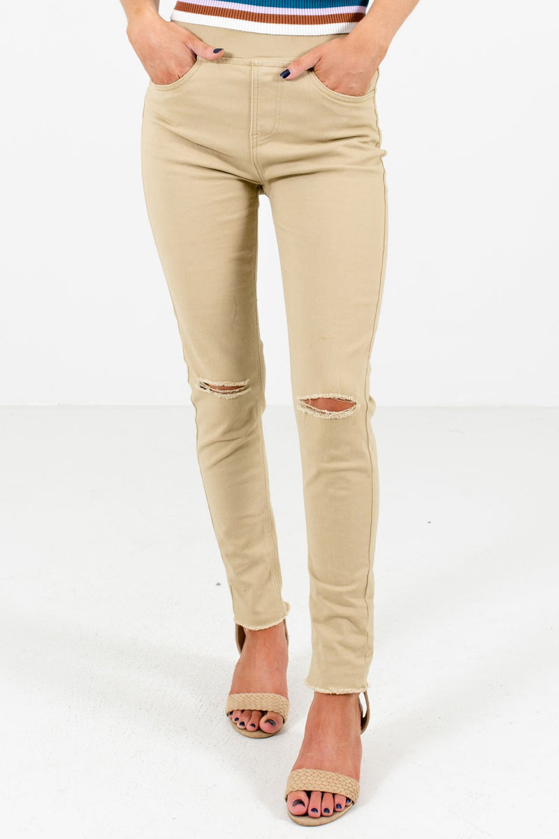 Nothing Else Matters Khaki Distressed Jeggings