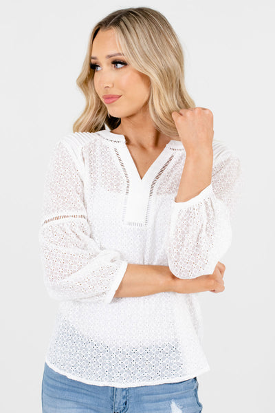 Women's White High-Quality Material Boutique Tops