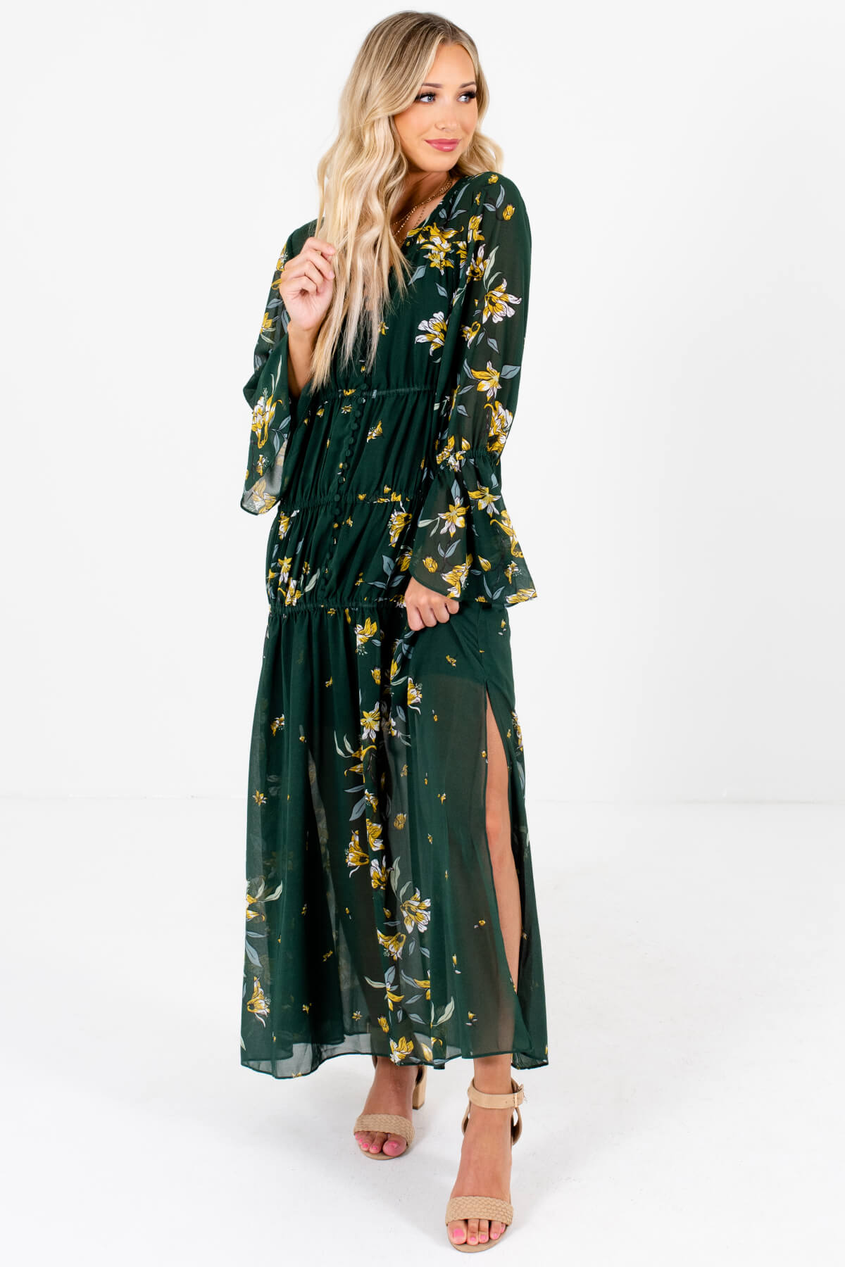 Dark Green Multicolored Floral Boutique Maxi Dresses for Women