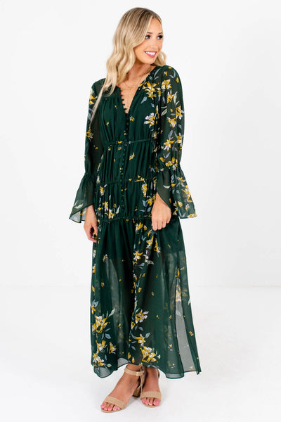 Women's Dark Green Fully Lined Boutique Maxi Dress