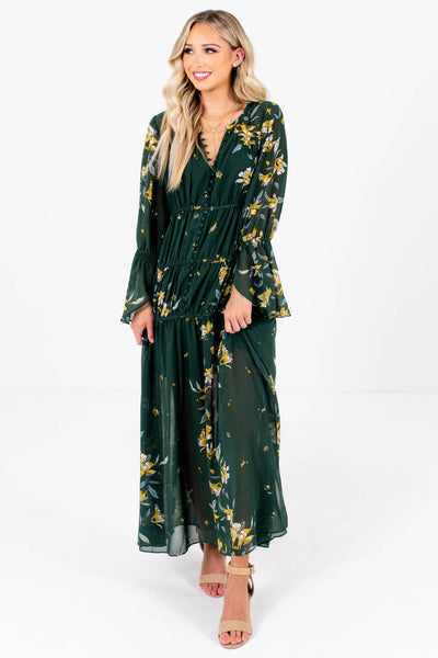 Dark Green Cute and Comfortable Boutique Maxi Dresses for Women