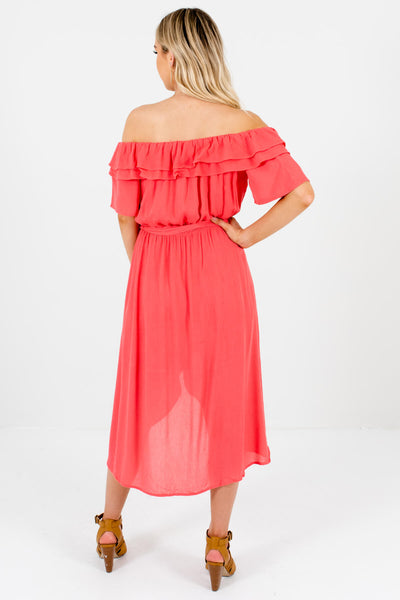 Women's Coral Pink Ruffle Accented Boutique Midi Dresses