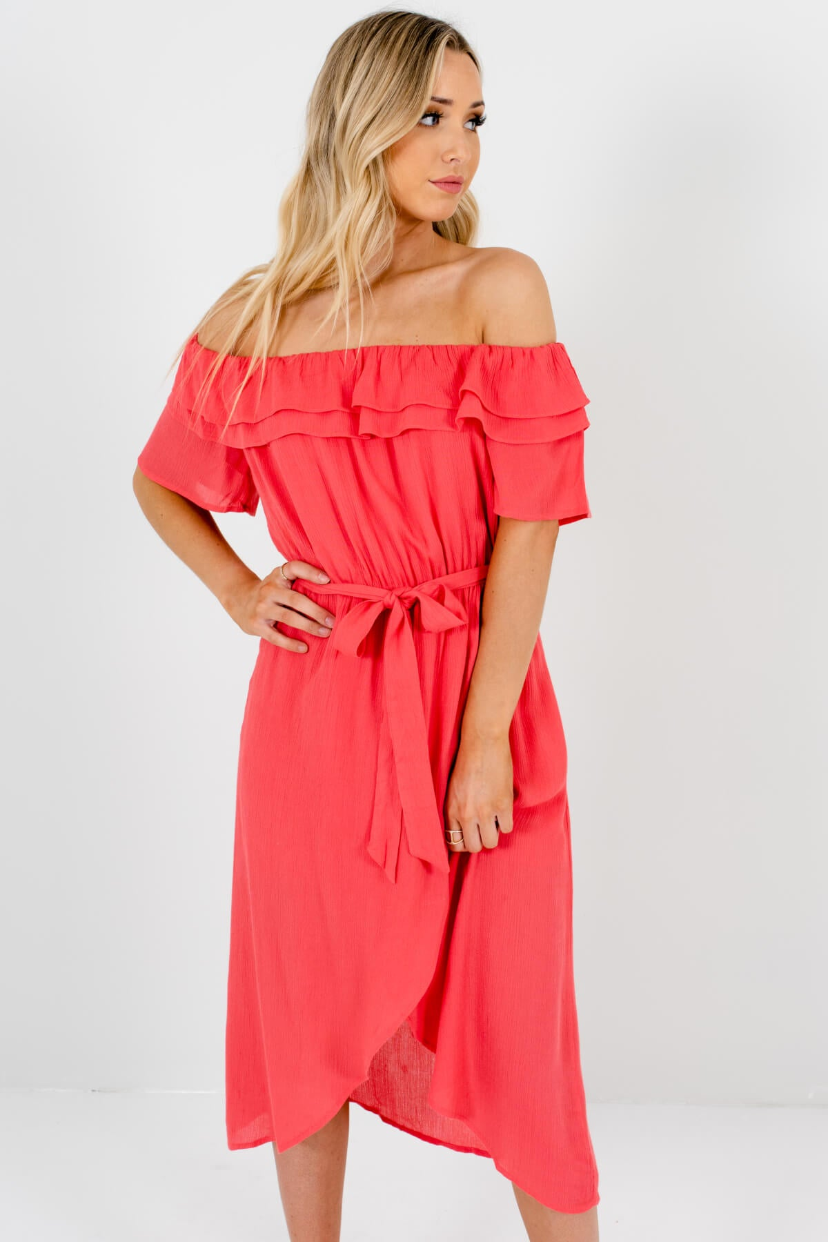 Coral Pink Off Shoulder Style Boutique Midi Dresses for Women