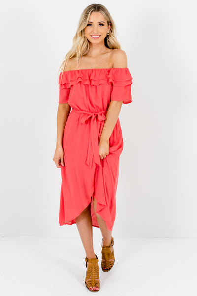 Coral Pink Cute and Comfortable Boutique Midi Dresses for Women
