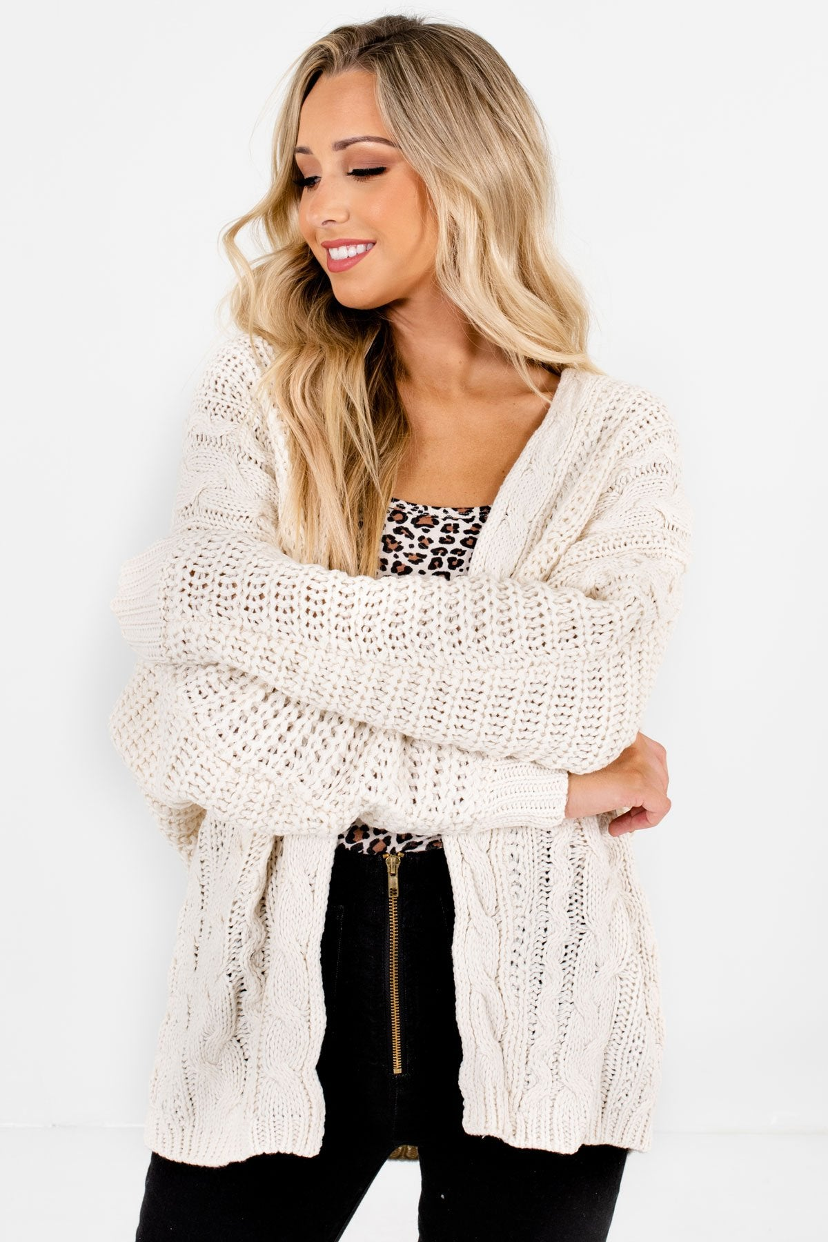 Cream High-Quality Cable Knit Material Boutique Cardigans for Women