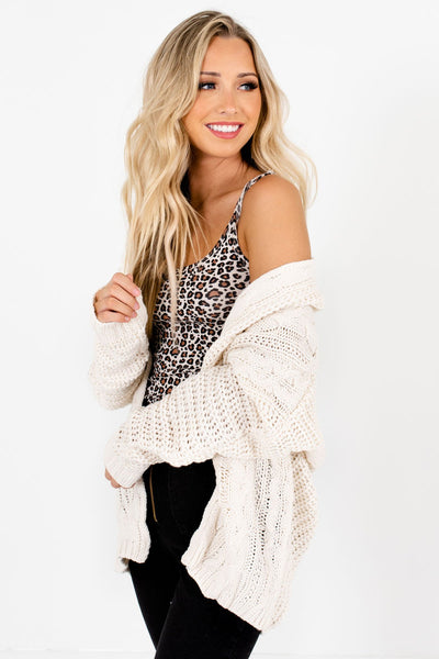 Cream Oversized Fit Boutique Cardigans for Women