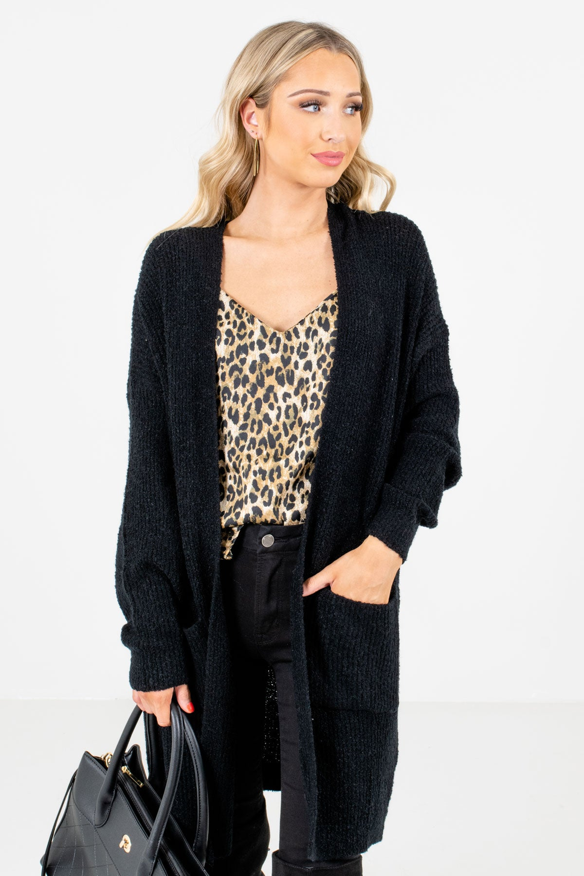 Black High-Quality Knit Material Boutique Cardigans for Women
