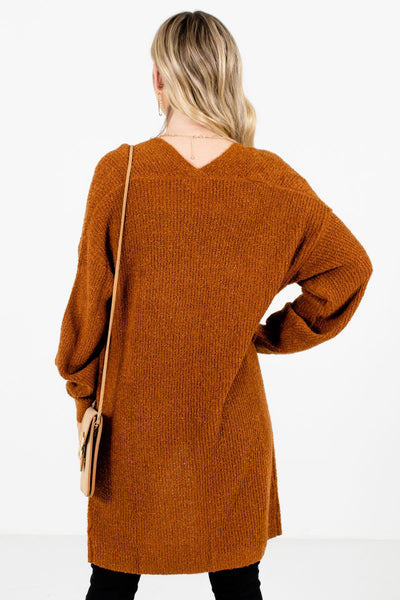 Women's Rust Orange Long Sleeve Boutique Cardigan