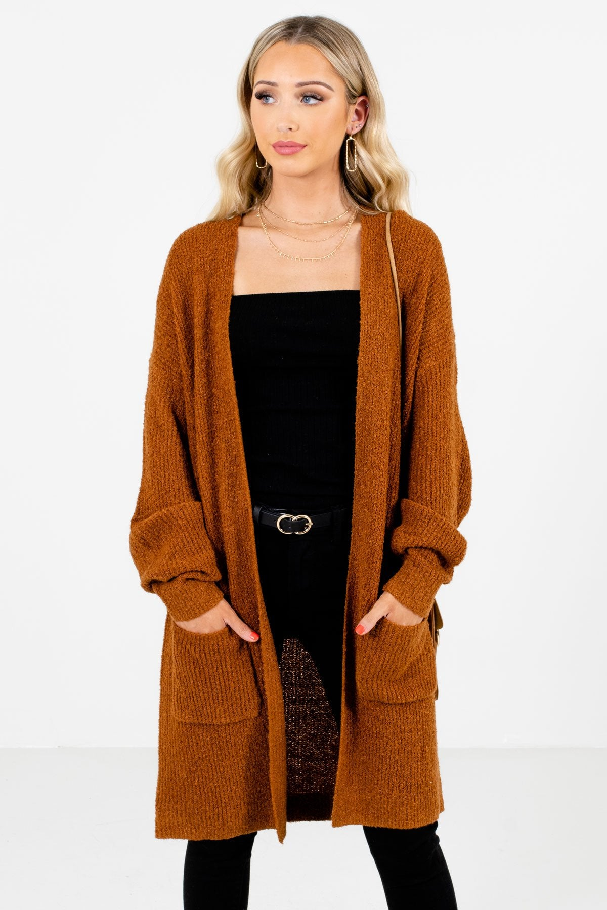 Rust Orange High-Quality Knit Material Boutique Cardigans for Women