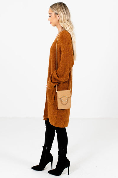 Rust Orange Boutique Cardigans with Pockets for Women