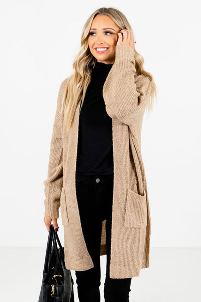 Taupe Brown Boutique Cardigans with Pockets for Women