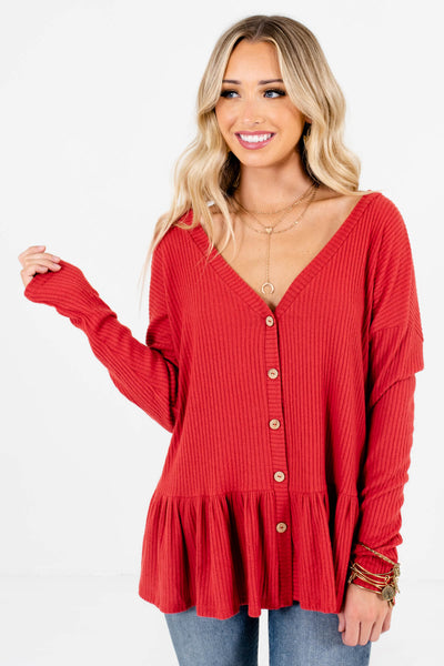 Red Wooden Button-Up Front Boutique Tops for Women