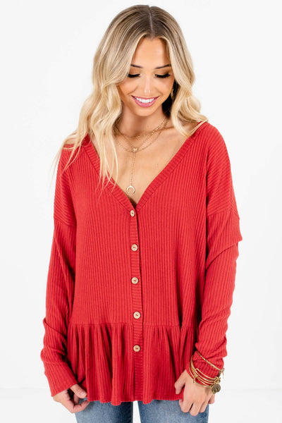 Red Flowy Silhouette Boutique Tops for Women