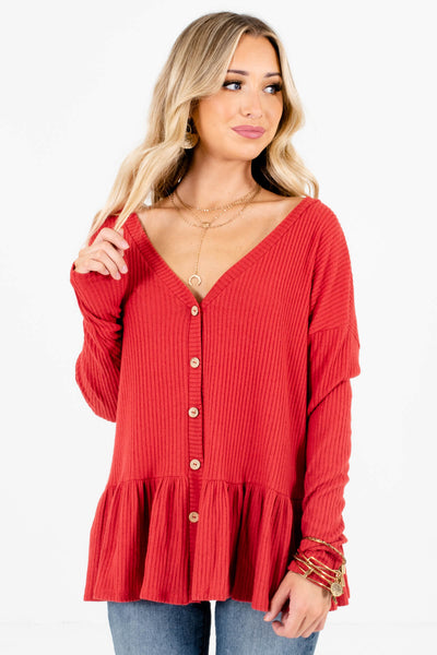 Women's Red Oversized Relaxed Fit Boutique Tops