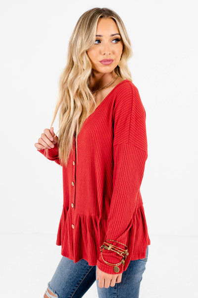 Red Soft Ribbed Material Boutique Tops