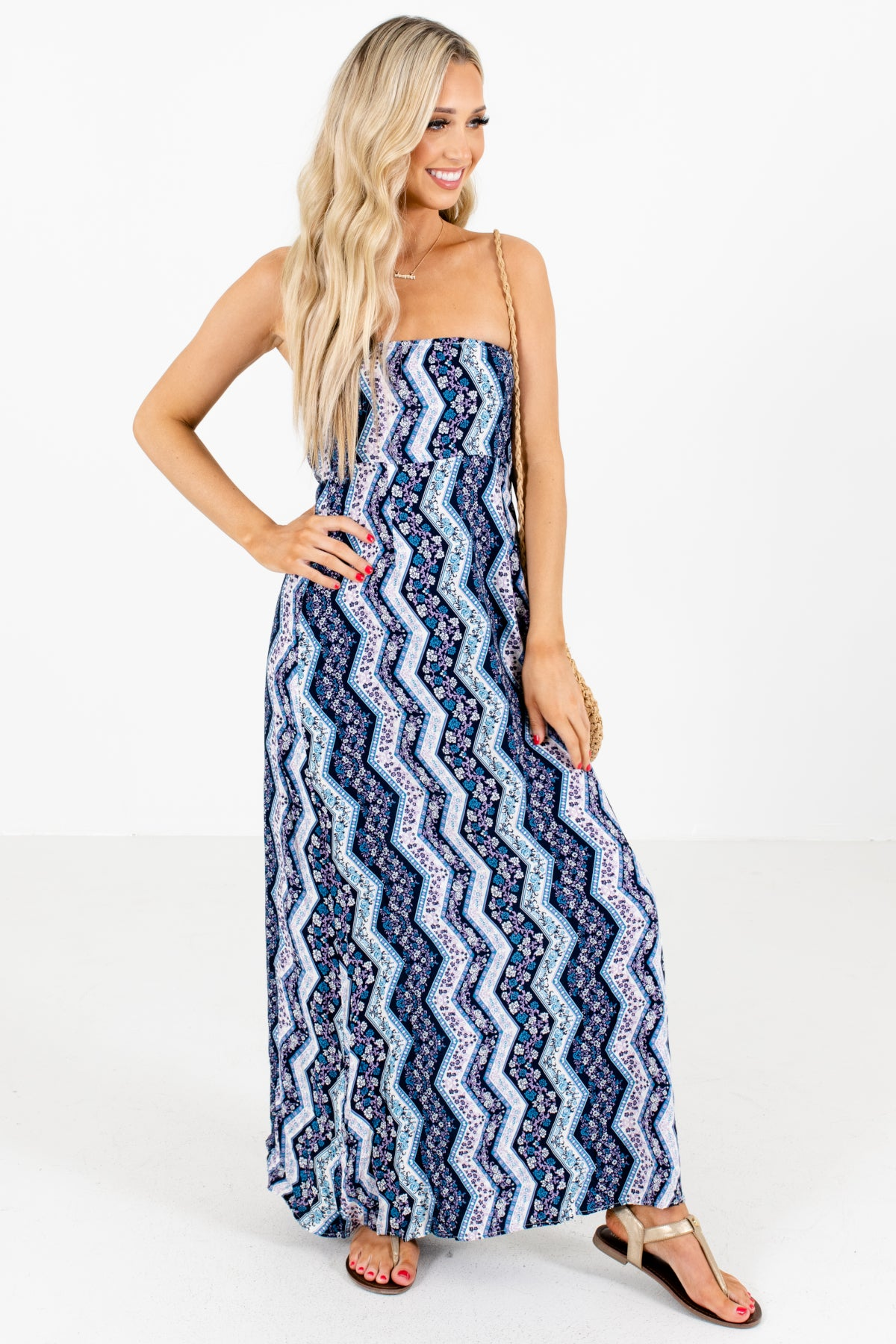 Navy Blue Patterned Boutique Maxi Dresses for Women