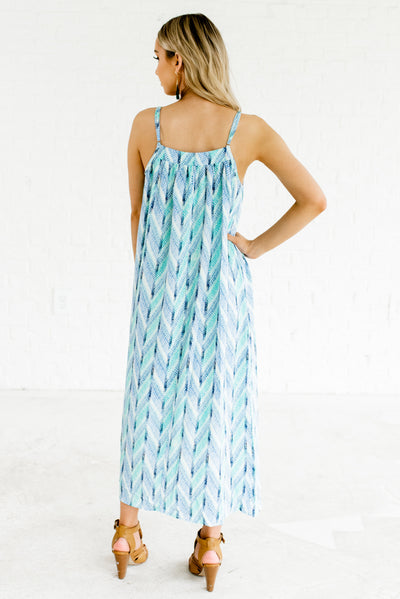 Blue and Green Women's Adjustable Strap Boutique Maxi Dress