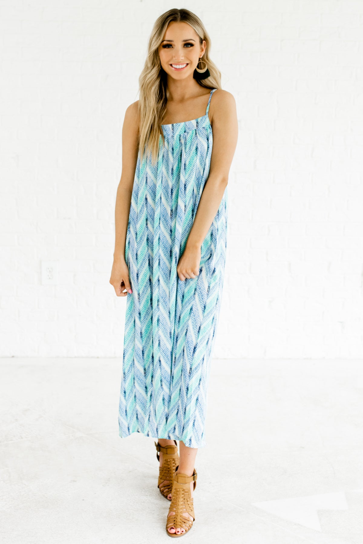 Blue, Green, and White Chevron Patterned Boutique Maxi Dresses for Women