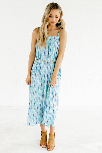Women's Blue and Green Square Neckline Cute Boutique Maxi Dresses