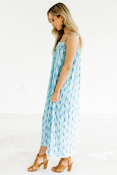 Blue and Green Lightweight Flowy Boutique Maxi Dresses for Women